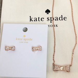 NWT Kate Spade Ready Set Bow Rose Gold Jewelry Set